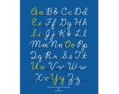 Small Fry Cursive Alphabet - Blue 11x14
