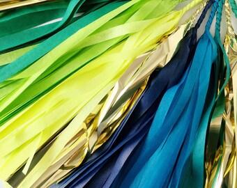 Rainforest Tassel Garland - Green, Blue, Turquoise, Gold Tassel Garland - Jungle Party Decor, Boy's Birthday Party, Rainforest Party Decor