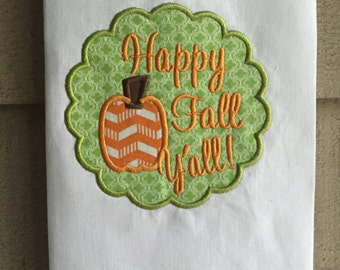 Happy Fall Y'all tea towel