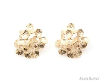 6 Orchid Flower Leaves Earrings in Matte Gold / 28.0mm x 27.0mm / BMG300-E (2pcs)
