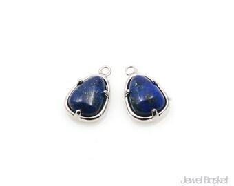 Lapis Teardrop Charm in Rhodium - Lapis Lazuli Charm / 8mm x 12.3mm / SLLS092-P (2pcs)