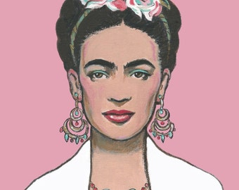 FRIDA KAHLO Canvas Wrap Print or Original Painting Mexican Folk Art Frida Painting Pink Home Decor