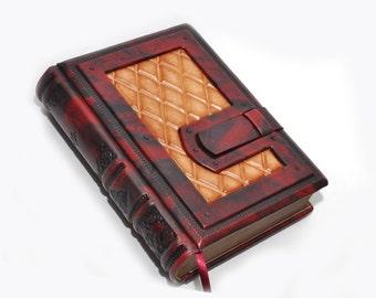 Red leather journal, Vintage journal, Steampunk victorian book, Secret diary, Traveler journal, 8.1''x5.7'' (20,5x14,5 cm)