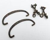 6pc Set Vintage Metal Brass Drawer Pulls Handles with Mounting Screws Furniture Hardware