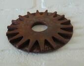 RESERVED 2pc Set Vintage Rusty 18 Point Steel Gear Sprocket Washer Craft Flower Sun Star