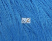"""Solid Grizzly Shaggy Fake Fur Fabric - BLUE - Sold By The Yard 60"""" Width Coats Costumes Scarfs Rugs Props Long Pile"""