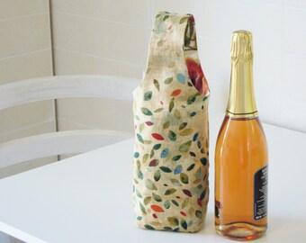 Wine tote bag, wine purse - reversible - reusable - present/gift/wine lovers - romantic flowers and leaves - OOAK