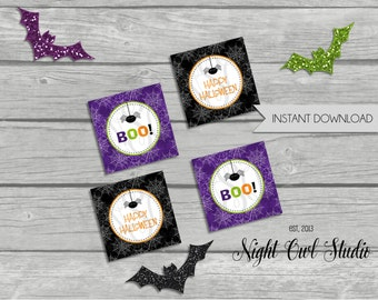 INSTANT DOWNLOAD--Halloween Party Tags-Party Circles-Cupcake Toppers-Spider-Halloween Birthday-Printable