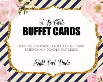 Buffet Cards, Buffet Food Labels, Buffet Tent Cards, Buffet Menu Cards, Food Tent Cards