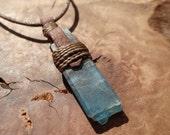 Blue Kyanite Crystal Pendant on Adjustable Cord