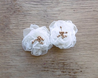 Mini FairytaleFlower Hair Flowers in White and Gold - White Flower Hair Clips - Bridal Hair Flowers - Flower Girl Hair Pins