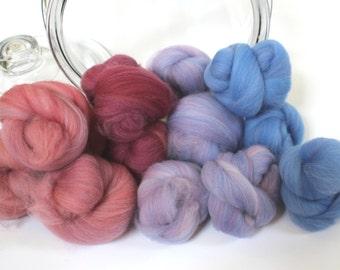 3.6oz Spinning Fiber Gradient Battlings Batt Merino Roving Dyed Wool Spinning Fiber Indie