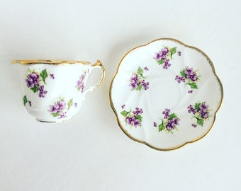 Vintage Tea Cup Purple Flowers Gold Trim ~ Made in England~ Cup & Saucer