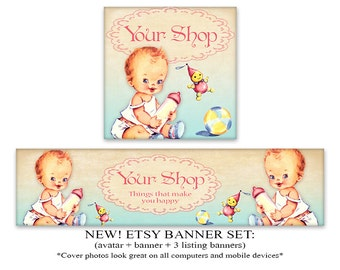 ETSY COVER Etsy shop banner & avatar New Look banner Vintage Etsy shop set Digital Download