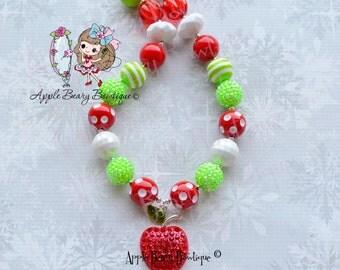 Red Apple necklace kindergarten rocks necklace back to school necklace Apple necklace first day of school chunky necklace Apple School