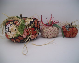 Thanksgiving Pumpkins, Fall Decor, Autumn Decor, Thanksgiving Decor, Home Decor, Home and Living, Handmade, Fabric, One-of-a-kind