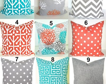 SALE. TEAL PILLOWS Orange Outdoor Pillows Teal Pillow Orange Pillow Covers Grey Throw Pillow Covers Turquoise Gray 18 20x20 .All Sizes.