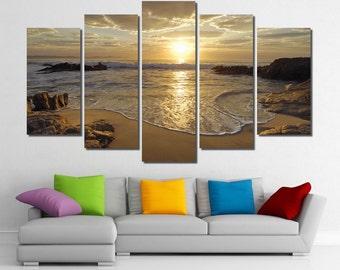 "60""x36"" Framed Huge 5 Panel Art Sunrise Sea Ocean Wave Sunset Beach Canvas Giclee Canvas Print - Ready to Hang"