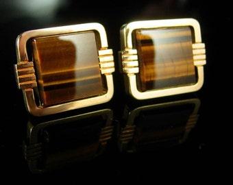 Tiger Eye Cufflinks Vintage cufflinks tuxedo cufflinks Gold cufflinks Gemstone groom cufflinks cats eye jewelry anniversary gift cuff links