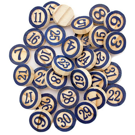 Laser Cut Supplies-31 Piece.Blue Wooden Bingo Chips -Brooch Supplies- Little Laser Lab Sustainable Wood Products