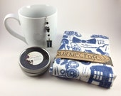 Bold Doctor Who Heart Hand Printed Tea Towel & Tardis Infuser Gift Set