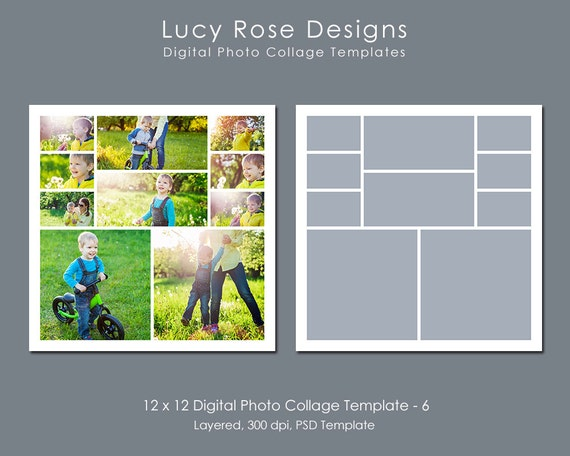 4 picture collage template - 12 x 12 photo collage template 6