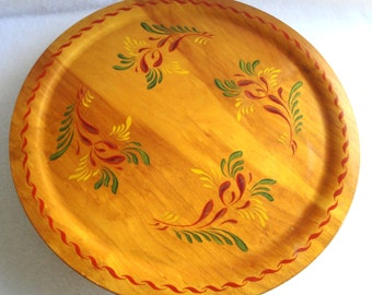 Vintage Mid Century Tole Painted Wooden Lazy Susan Serving Tray