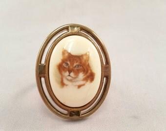 Vintage handmade orange tabby cat ring with adjustable band