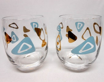 Vintage Federal Glass Atomic Boomerang Turquoise & Gold Rock Glass Roly Poly Whiskey MCM