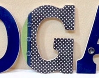Custom Nursery Letters, Baby Boy Nursery Decor, Baby Name, Wooden Hanging Letters, Wall Letters,  The Rugged Pearl