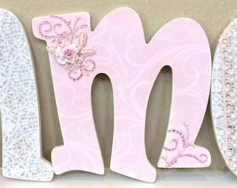Custom Nursery Letters- Baby Name- Girl Nursery Decor- Wooden Hanging Letters - Nursery Wall Letters- The Rugged Pearl