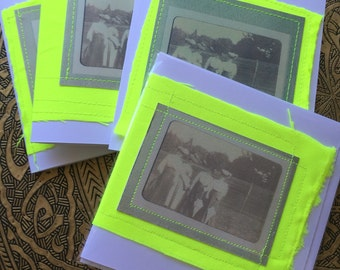 Blank Card Ode to Emily Pankhurst. Sufferagettes ladies in long dkirts gand made mixed media card neon cloth