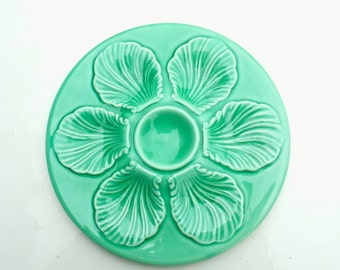 Vintage  French Majolica OYSTER PLATE Proceram Light green