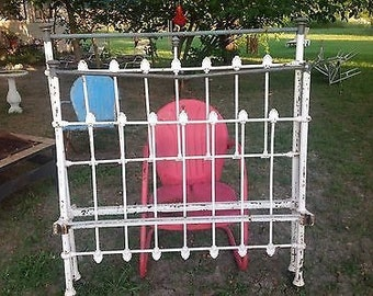 Antique vintage ornate white Wrought Iron Bed Frame and Rails size Full