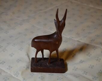 ON SALE  Vintage Carved Wooden Gazelle