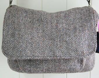 Brown Harris Tweed satchel bag