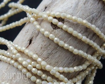 3mm Firepolished Luster Iris Antique Beige Beads, 50 Beads, Fire Polished 3mm Iris Luster Antique Beige Beads, 2971, Faceted Round Beads