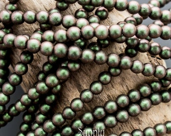 4mm Polychrome Sage and Citrus Czech Glass Druk Beads, 3091, Polychrome Citrus and Sage Smooth Round, 40 Beads, Sage Polychrome Druk Beads,