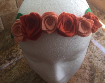 Burnt Orange, Beige and Green Felt Flower Crown Headband, Baby Crown Headband, Baby Girl Crown Headband, Infant Crown Headband, Women Crown