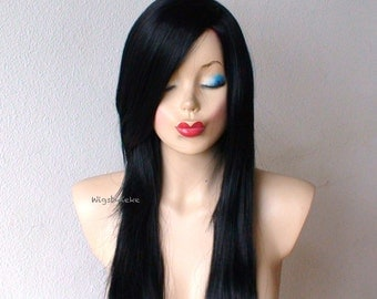 Black wig. Long straight hair Long side bangs wig. Durable Human hair likely Natural hairstyle Synthetic wig for daily use or cosplay.