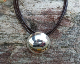 3mm Triple Strand Brown Leather Necklace with Large Chunky Silver Dome Pendant