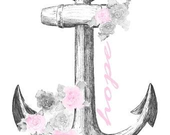 Anchor of Hope - pink - Digital Download