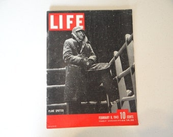 1943 Life Magazine War Issue , February 8 , Plane Spotter - Coast Guard - Roosevelt in North Africa