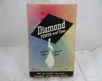 Vintage 1950's Diamond Tints & Dyes Box - Turkey Red