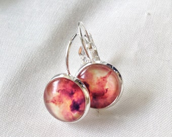 Red yellow orange watercolor, earrings cabochon 12 mm, sunset, made in Québec, gifts for her,