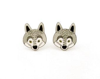 Wolf Shrink Plastic Stud Earrings