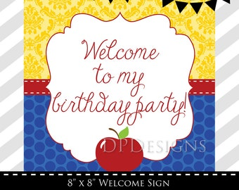 Snow White Inspired Welcome Sign - INSTANT DOWNLOAD
