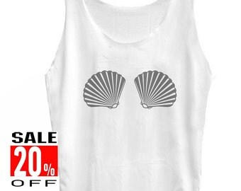 Mermaid Shell tank top workout tank top women tank top men tank singlet sleeveless size S M L