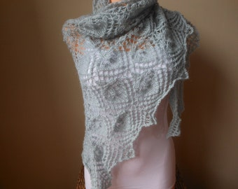 Lace shawl mohair yarn  light grey, hand knitted, triangular shawl