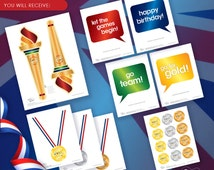 Instant Download - Olympic, Sports, Gymnastics Printable Photo Booth Props